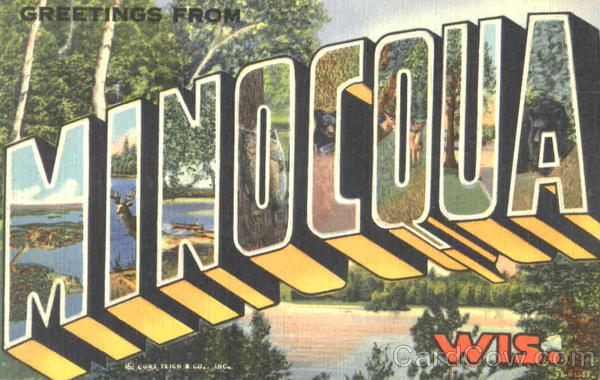 Greetings From Minocqua Wisconsin Large Letter