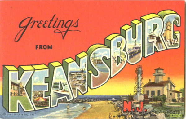Greetings From Keansburg New Jersey Large Letter