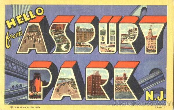 Hello From Asbury Park New Jersey Large Letter