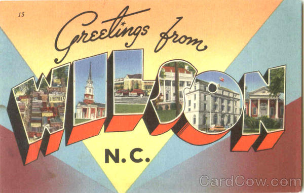 Greetings From Wilson North Carolina Large Letter