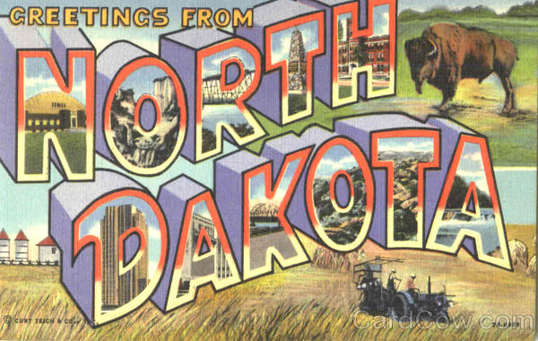 Greetings From North Dakota Large Letter