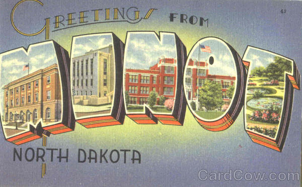 Greetings From Minot Minto North Dakota Large Letter
