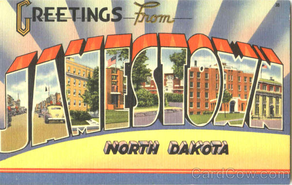 Greetings From Jamestown North Dakota Large Letter
