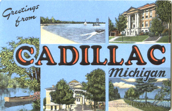 Greetings From Cadillac Michigan Large Letter