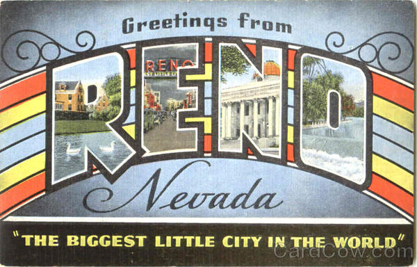 Greetings From Reno Nevada Large Letter