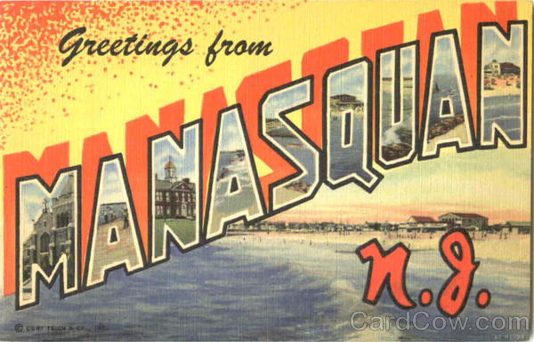 Greetings From Manasquan New Jersey Large Letter
