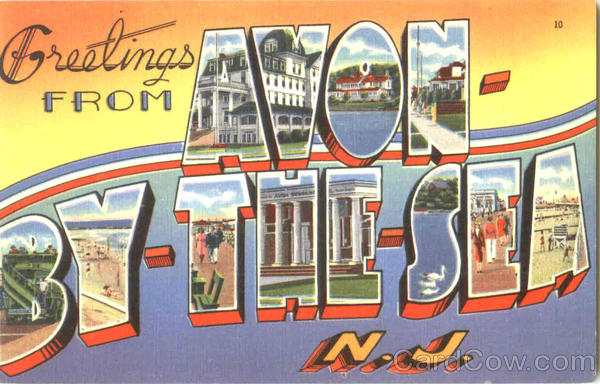 Greetings From Avon By The Sea New Jersey Large Letter