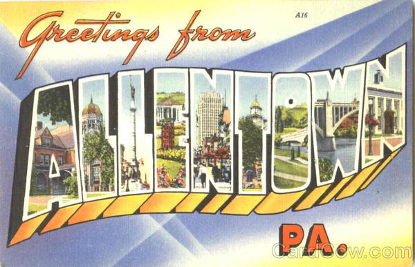 Greetings From Allentown Pennsylvania Large Letter