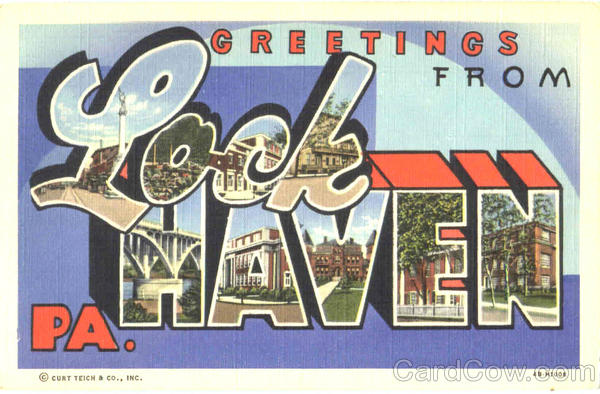 Greetings From Lock Haven Pennsylvania Large Letter