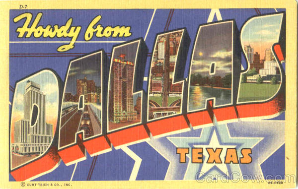 Howdy From Dallas Texas Large Letter