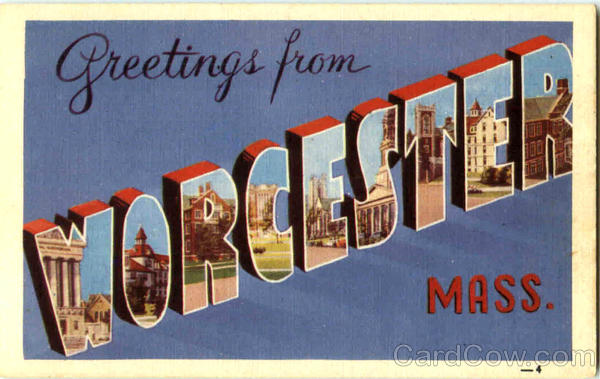 Greetings From Worcester Massachusetts Large Letter