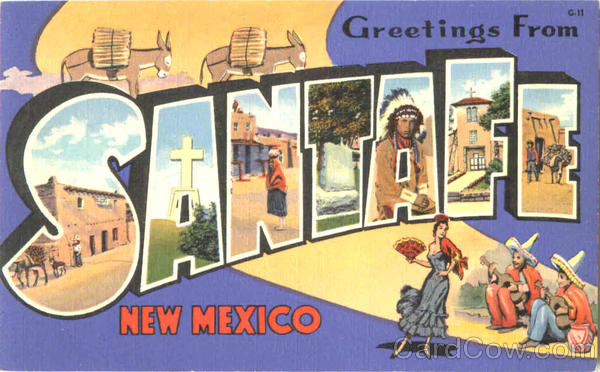Greetings From Santa Fe New Mexico Large Letter