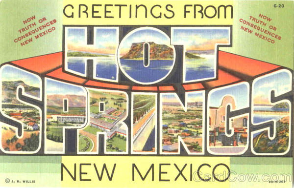 Greetings From Hot Springs New Mexico Large Letter