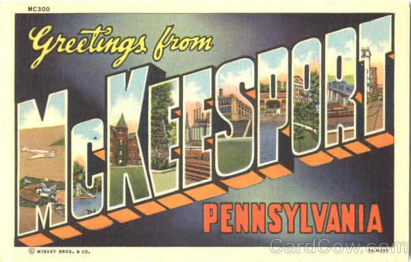 Greetings From McKeesport Pennsylvania Large Letter