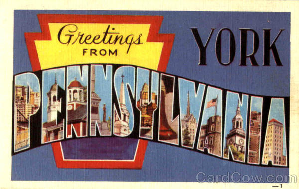 Greetings From Pennsylvania York Large Letter
