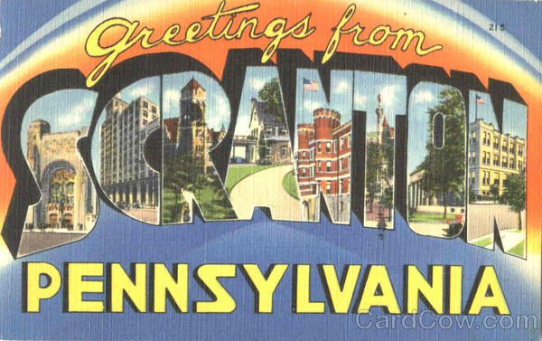Greetings From Scranton Pennsylvania Large Letter