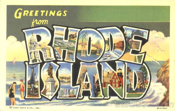Greetings From Rhode Island Large Letter