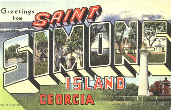 Greetings From Saint Simons Island Georgia Large Letter