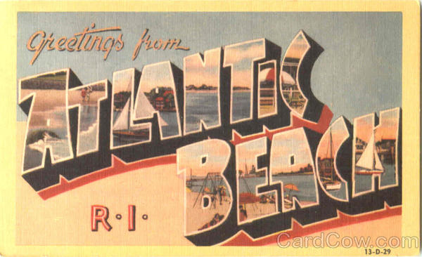 Greetings From Atlantic Beach Rhode Island Large Letter