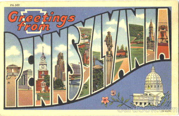 Greetings From Pennsylvania Large Letter