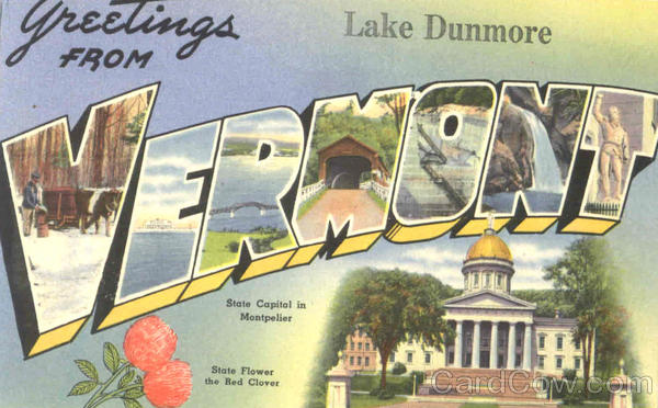 Greetings From Vermont Lake Dunmore Large Letter