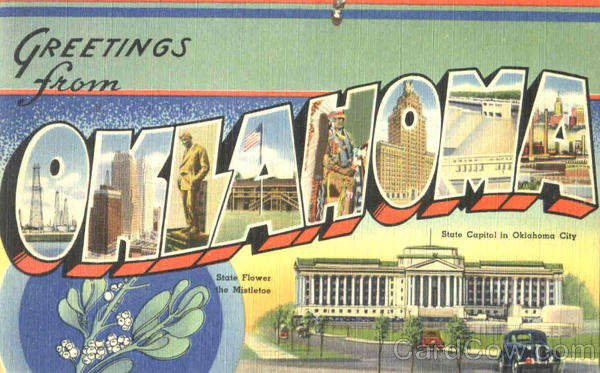 Greetings From Oklahoma Large Letter