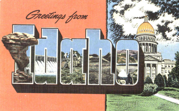 Greetings From Idaho Large Letter