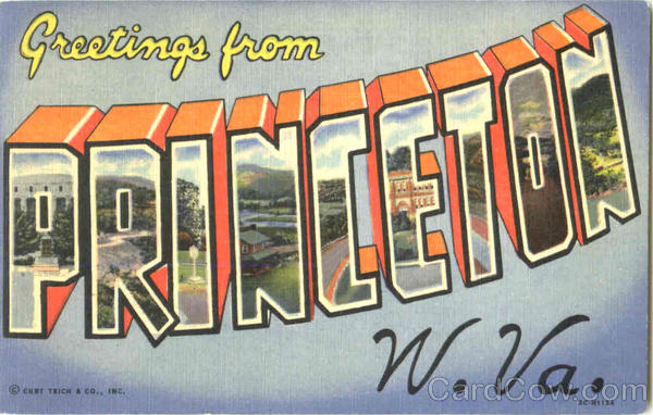 Greetings From Princeton West Virginia Large Letter