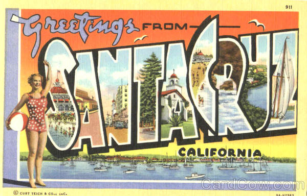 Greetings From Santacruz California Large Letter