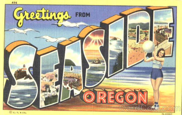 Greetings From Seaside Oregon Large Letter