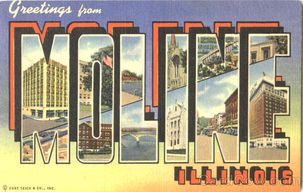 Greetings From Moline Illinois Large Letter