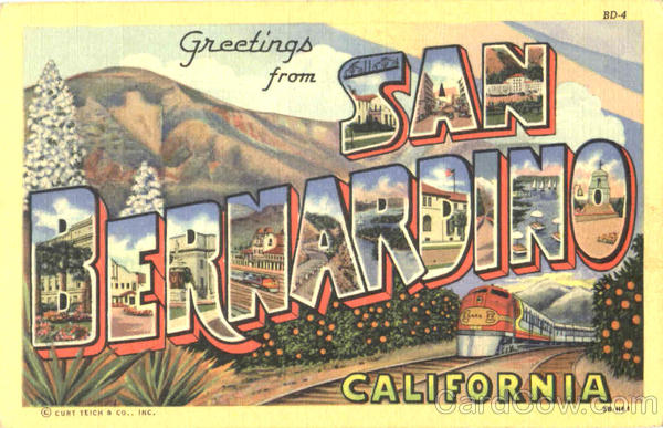 Greetings From San Bernardino California Large Letter