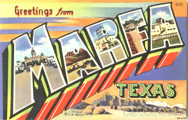 Greetings From Marfa Texas Large Letter