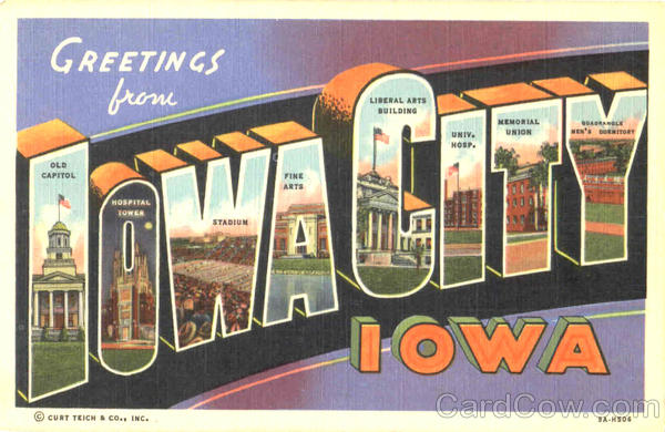 Greetings From Iowa City Large Letter