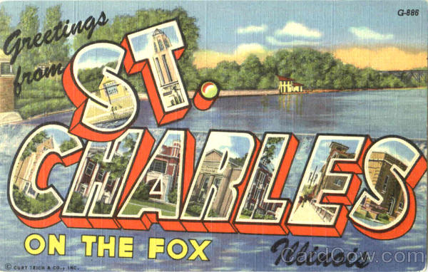 Greetings From St. Charles Illinois Large Letter