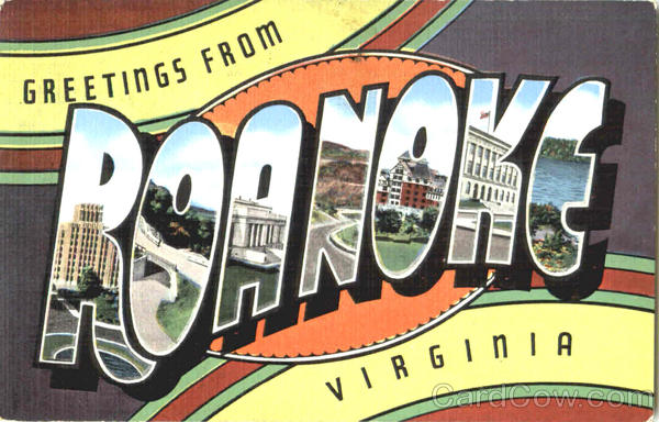 Greetings From Roanoke Virginia Large Letter