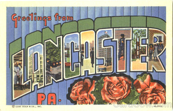 Greetings From Lancaster Pennsylvania Large Letter