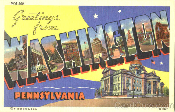 Greetings From Washington Pennsylvania Large Letter