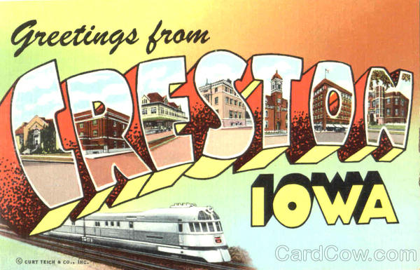Greetings From Creston Iowa Large Letter