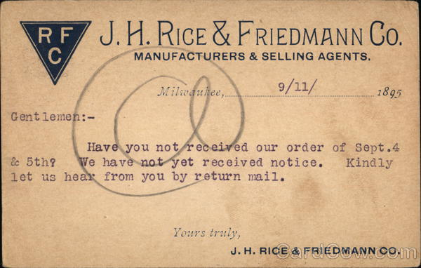 J.H. Rice & Friedmann Co. Milwaukee Wisconsin
