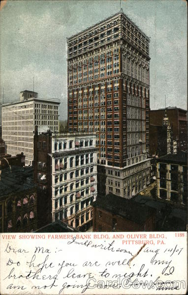View Showing Farmers Bank Bldg. and Oliver Bldg. Pittsburgh Pennsylvania