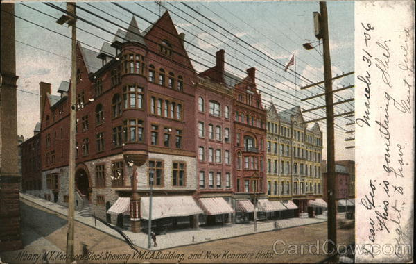 Kenmore Block Showing YMCA Building and New Kenmore Hotel Albany New York