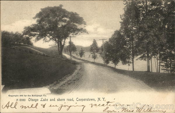 Otsego Lake and Shore Road Cooperstown New York