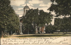 Campus & Main Building, Lawrence University Postcard