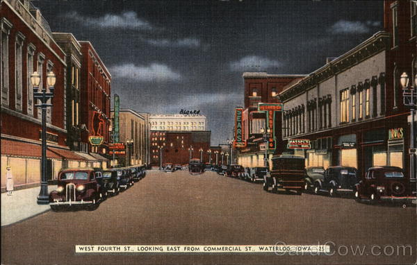 West Fourth Street, Looking East from Commercial Street Waterloo Iowa
