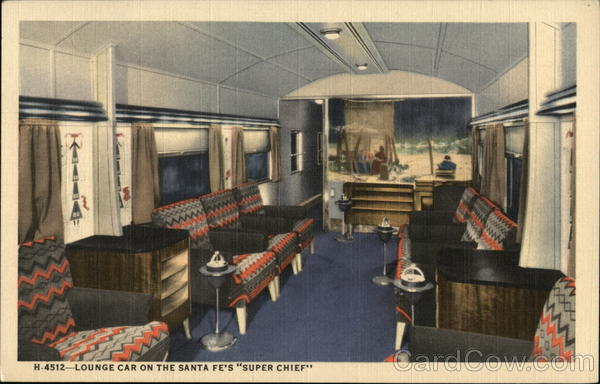 Lounge Car on the Santa Fe's Super Chief Trains, Railroad