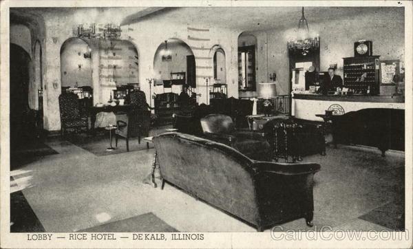Lobby Rice Hotel Dekalb Il Postcard
