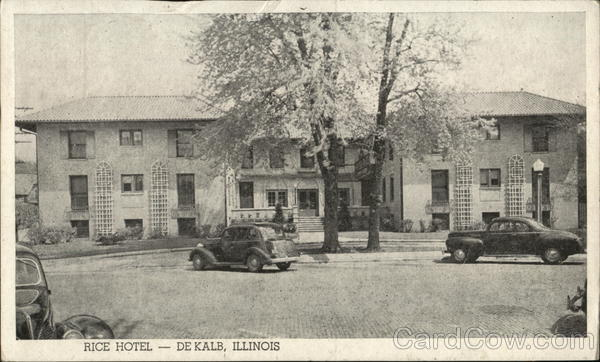 Rice Hotel Dekalb Il Postcard
