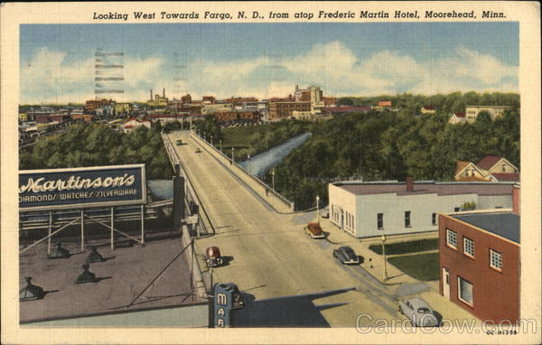 Looking West Towards Fargo N D From Atop Frederic Martin Hotel