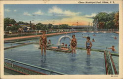 Bathers in Municipal Pool Postcard